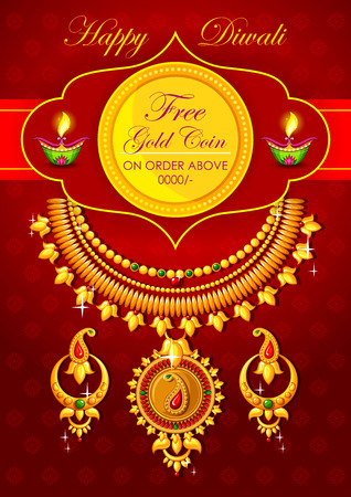gold ornament: illustration of Happy Diwali jewelery promotion background with diya Illustration