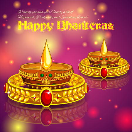 religious backgrounds: illustration of Happy Diwali jewellery promotion background with diya Illustration