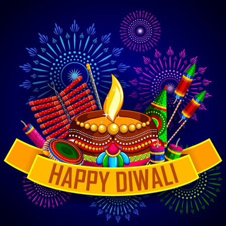 diwali: illustration of Happy Diwali background with diya and firecracker