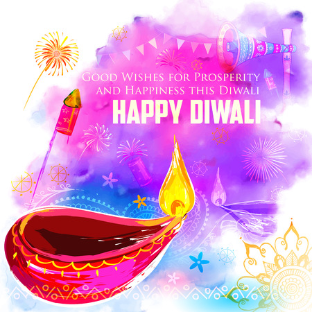 worship: illustration of Happy Diwali background with colorful watercolor diya