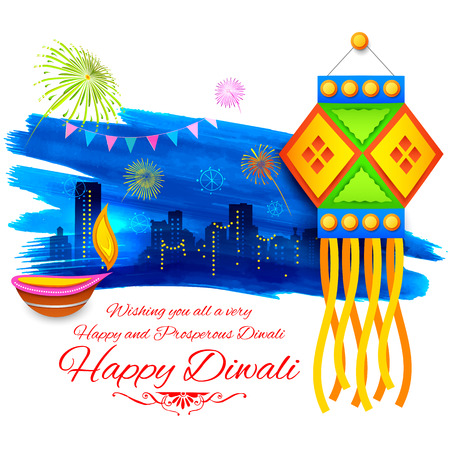 illustration of Happy Diwali background with colorful kandil on city backdrop Stock Illustratie