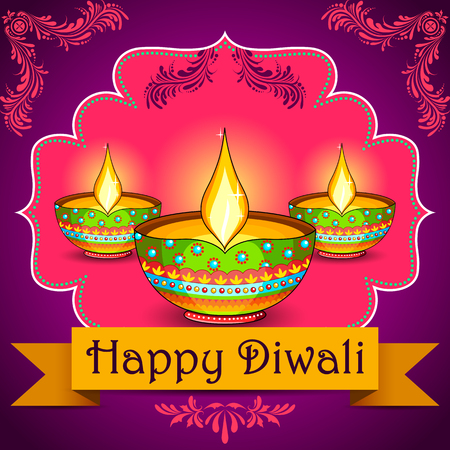 dipawali: illustration of Happy Diwali background with floral diya