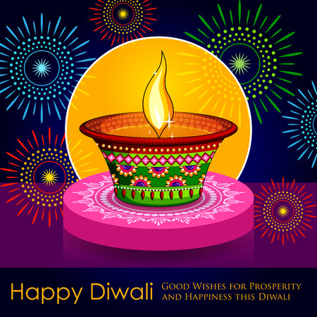 dipawali: illustration of Happy Diwali background with diya and firecracker