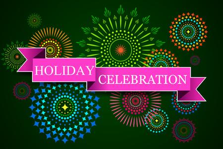 diwali: illustration of Happy Diwali background with diya and firecracker