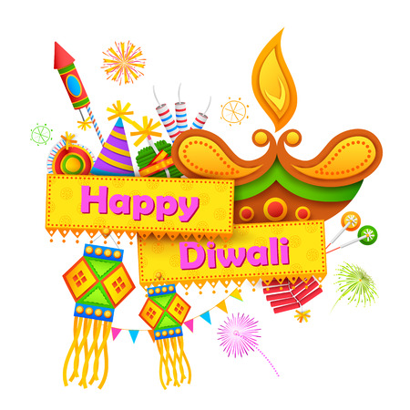 worship: illustration of Happy Diwali background with diya and firecracker