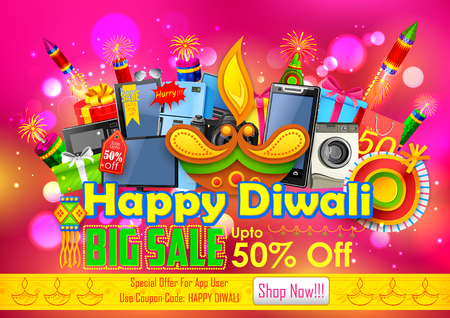 holiday shopping: illustration of Festive Shopping Offer for Diwali holiday promotion and advertisment