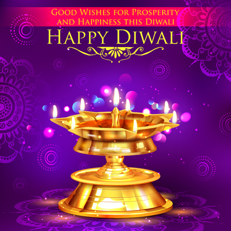 festival occasion: illustration of golden diya stand on abstract Diwali background