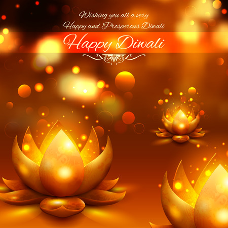 greeting card background: illustration of golden lotus shaped diya on abstract Diwali background Illustration