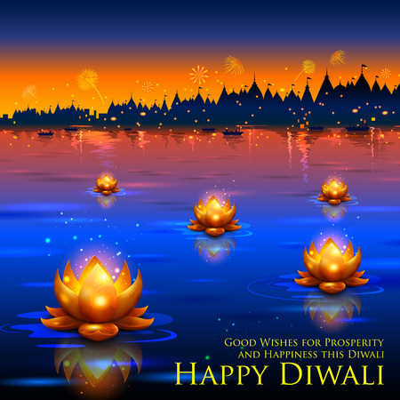 diwali: illustration of golden lotus shaped diya floating on river in Diwali background Illustration