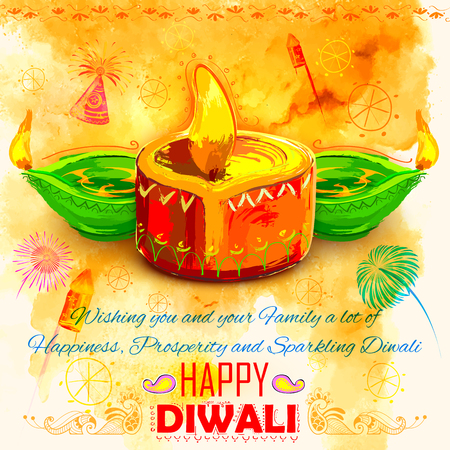wish of happy holidays: illustration of Happy Diwali background with colorful watercolor diya