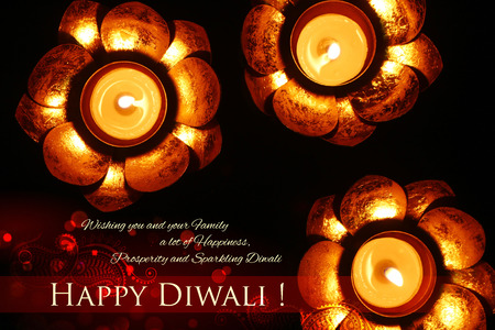 auspicious: illustration of golden lotus shaped diya on abstract Diwali background Stock Photo