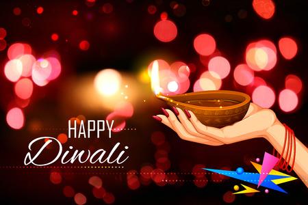 diya: illustration of lady holding burning diya on Diwali Holiday background