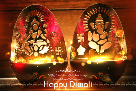 lakshmi: illustration of Goddess Lakshmi and Lord Ganesha in Happy Diwali background