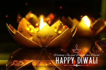 illustration of golden lotus shaped diya on abstract Diwali background Stock Photo