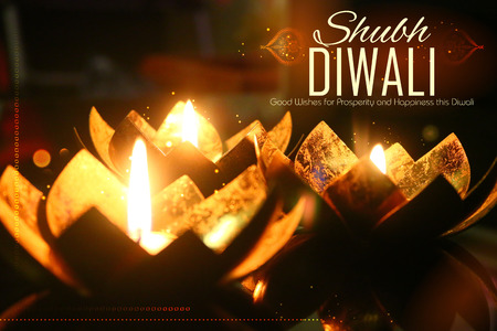 festive occasions: illustration of golden lotus shaped diya on abstract Diwali background Stock Photo