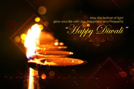 dipawali: illustration of burning diya on Diwali Holiday background Stock Photo