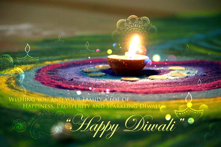 illustration of decorated Diwali diya on colorful rangoli