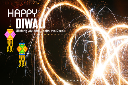 indian culture: illustration of Happy Diwali background with diya and firecracker