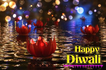 floating: illustration of golden lotus shaped diya floating on river in Diwali background Stock Photo