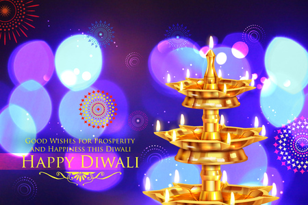 indian traditional: illustration of golden diya stand on abstract Diwali background