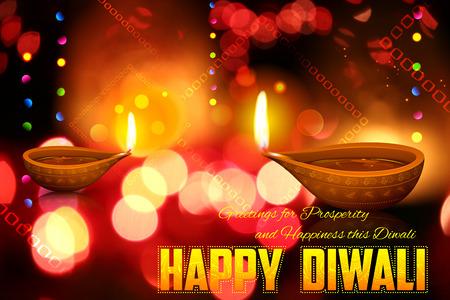 diya: illustration of burning diya on Diwali Holiday background Stock Photo