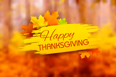 illustration of Happy Thanksgiving background with maple leaves Ilustracja