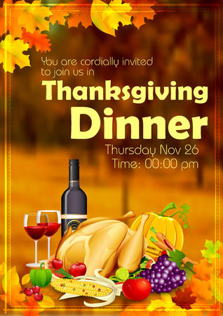 dinner: llustration of turkey, fruits and wine in Happy Thanksgiving dinner celebration