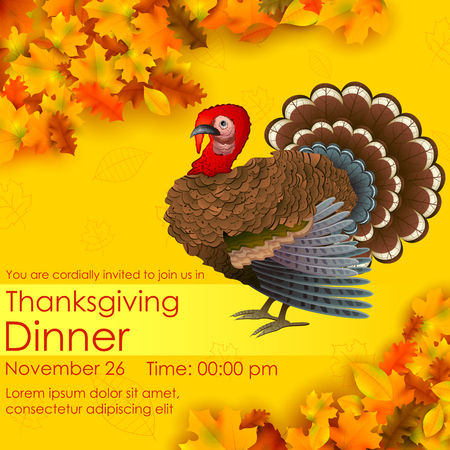 poultry: illustration of invitation card for Happy Thanksgiving with turkey and maple leaf