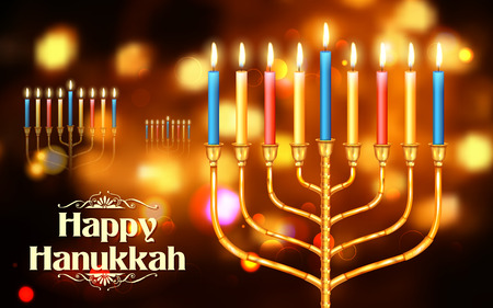chanukah: illustration of Happy Hanukkah, Jewish holiday background