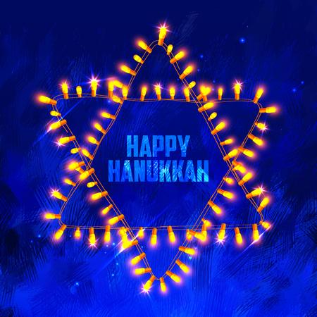 hanukka: illustration of Happy Hanukkah, Jewish holiday background with light garland arrangement in shape of Star of David