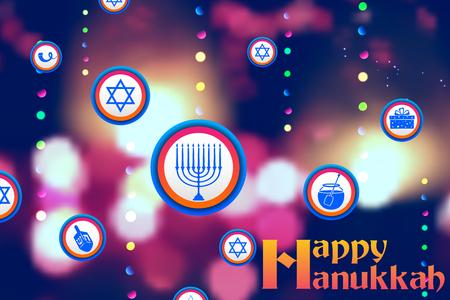 channukah: illustration of Happy Hanukkah, Jewish holiday background