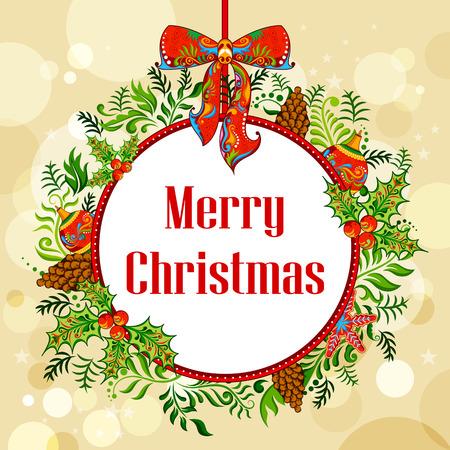 tarjeta de invitacion: ilustraci�n de la guirnalda adornada con la bola, la campana y el cono de pino en el fondo de vacaciones de Navidad
