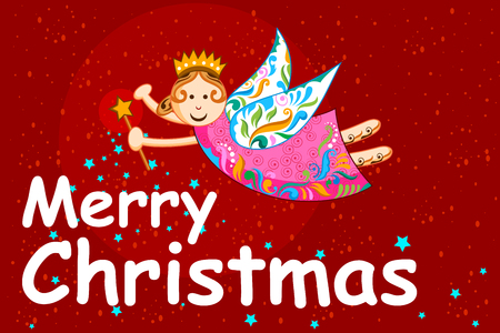 greeting card invitation: illustration of little fsiry in Christmas holiday background