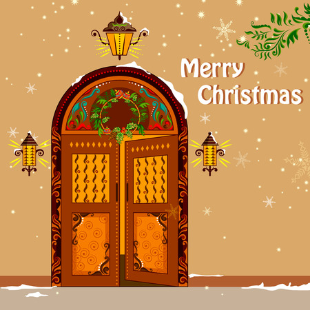 vintage card: illustration of wreath on door welcoming Christmas holiday background Illustration