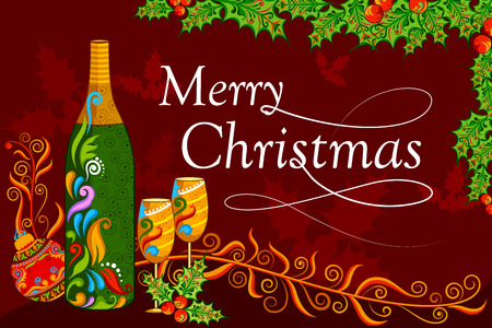 holiday card: illustration of floral Christmas holiday background with drink bottle and glass