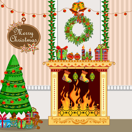 vintage invitation: illustration of decorated house with fireplace for Christmas holiday background Illustration