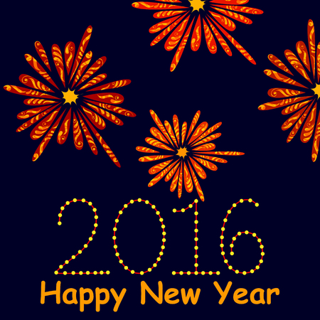 festive occasions: illustration of Happy New Year celebration background with firework