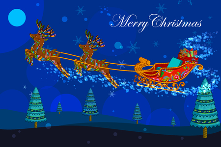 holiday gifts: illustration of Santa sleigh with gifts in Christmas holiday background