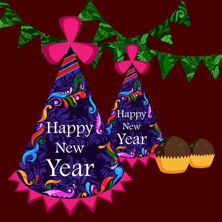 new year's cap: illustration of Happy New Year celebration background