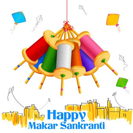 ilustración de fondo de pantalla con Makar Sankranti colorido carrete cuerda de la cometa