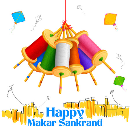 enero: ilustración de fondo de pantalla con Makar Sankranti colorido carrete cuerda de la cometa