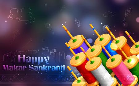 paper kite: illustration of Makar Sankranti wallpaper with colorful kite string spool