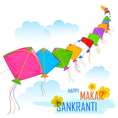 ilustración de fondo de pantalla Makar Sankranti con coloridas cometas
