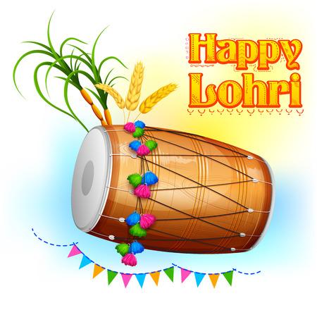 holiday invitation: illustration of Happy Lohri background for Punjabi festival