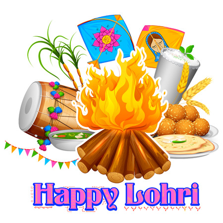 editable: illustration of Happy Lohri background for Punjabi festival