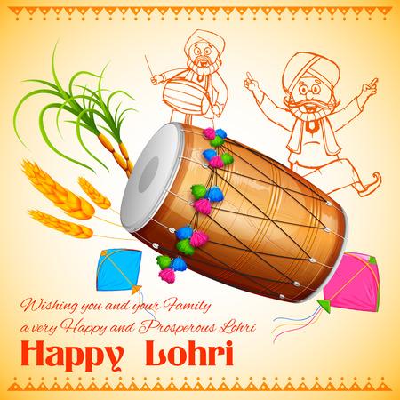 tambor: Ilustración de fondo feliz para el festival de Lohri Punjabi