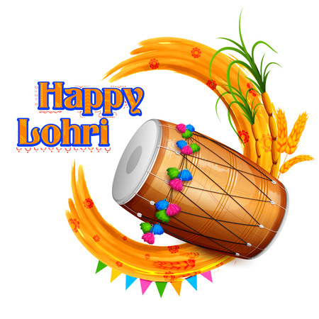 drum: illustration of Happy Lohri background for Punjabi festival