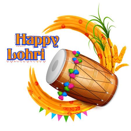 illustrazione di Happy Lohri sfondo per il festival Punjabi