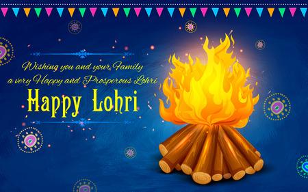 祭: パンジャブ語祭幸せ Lohri 背景のイラスト