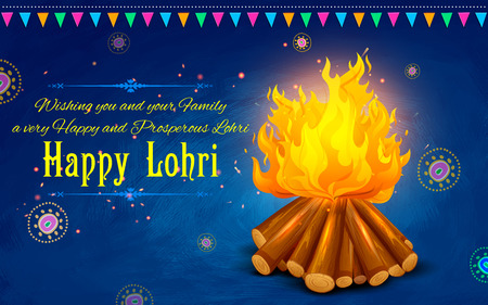 religious backgrounds: illustration of Happy Lohri background for Punjabi festival